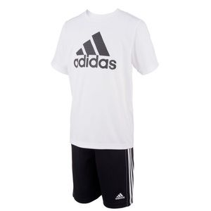 Boys Size 7 Adidas Mesh Shorts & Graphic Tee Set
